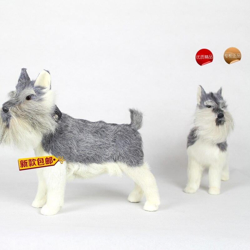 Simulation mignon modèle schnauzer modèle polyéthylène et fourrures chien modèle accessoires de décoration de la maison, modèle cadeau d605
