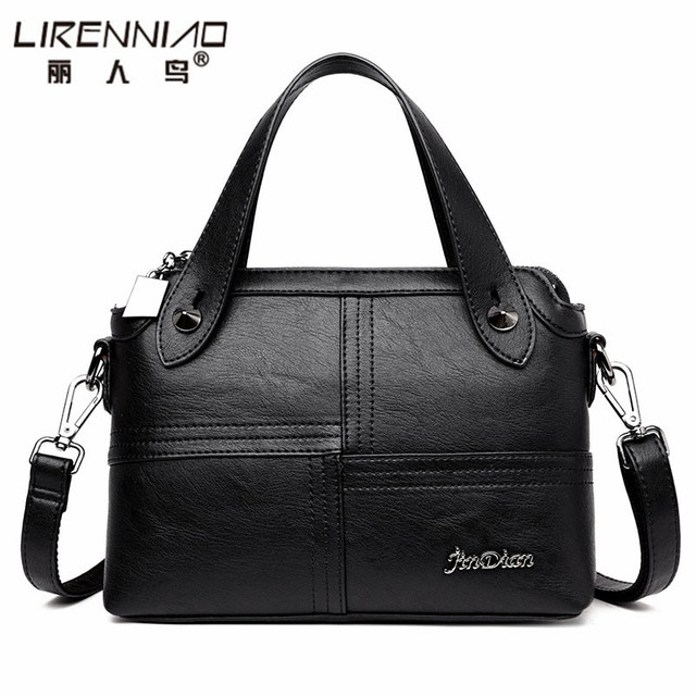 2017 LIRENNIAO Patchwork black Handbag Women Bag Designer Handbag High Quality Soft Leather Bag Women Messenger Bags Casual tote