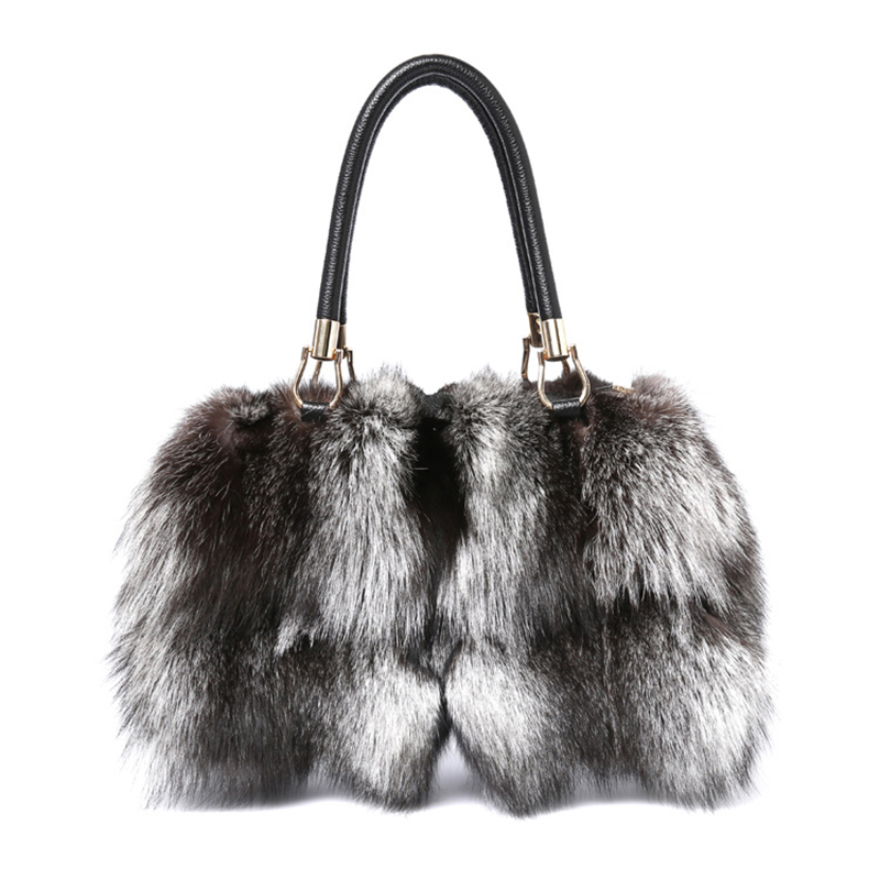 2017 New Tote bag Women Silver Fox Fur Leather Messenger Bags Fashion Real Cowhide Handbags High Quality Ladies Crossbody Bags ellacey women bucket bags fox fur genuine leather handbags fur women bag socialite basket real leather small christmas tote bag