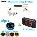 Serviço sem fio chamando sistema restaurante com K-302 botão do transmissor monitor K - D-3 ( 1 de exibição + 5 mesa sino botão )