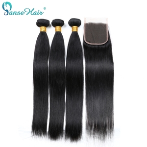 Panse Hair Brazilian 3 Bundles With One Lace Closure 4X4 Straight Human Hair Weaving Non-Remy Hair Freee Shipping