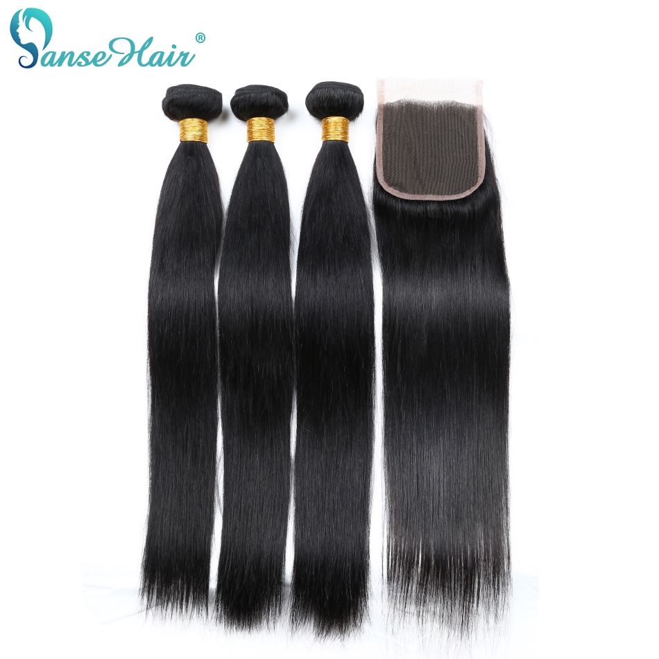Panse Hair Brazilian Hair Bundles 3 Bundles With One Lace Closure 4X4 Straight Human Hair Weaving Non Remy Hair Freee Shipping