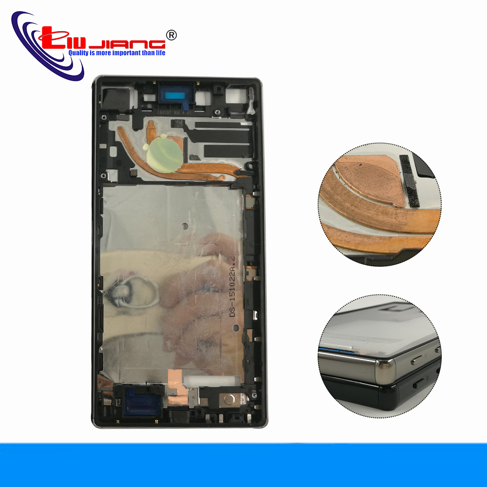 Liujiang Middle Housing Frame Chassis For Sony Z5 Premium Z5P E6853 E6833 E6883 Front Frame Bezel + dust-proof plug