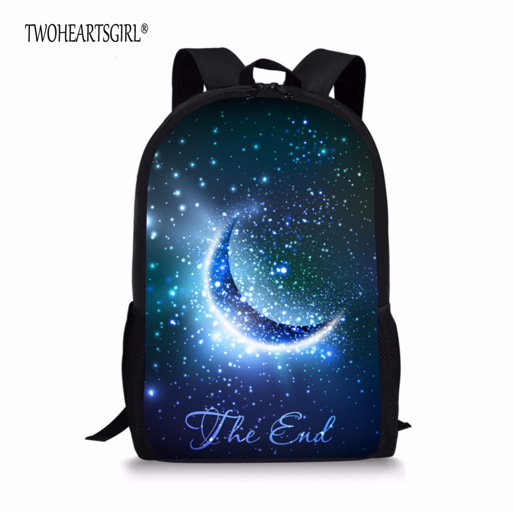 TWOHEARTSGIRL Fancy Moon Galaxy Star School Bags for Teenager Girls Multicolor Children Student Schoolbag Tide Kids Bookbags