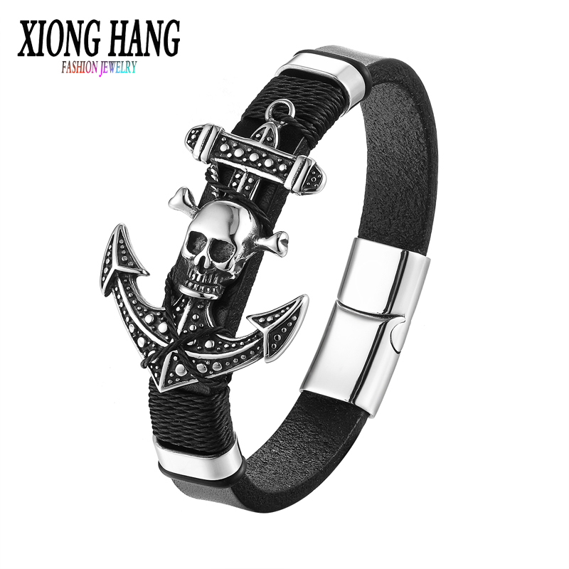 XiongHang 2017 Fashion Stainless Steel Hook Accessory Genuine Leather Chain Bracelet Men Vintage Male Skeleton Hook Jewelry