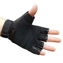 Men's leather tactical half finger gloves Protective non-slip outdoor fitness army fan gloves half gloves outdoor sports fitness mountaineering mitts half slip