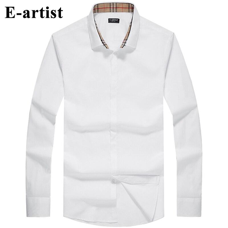 E artist Men s Slim Fit Business Casual Cotton Dress Shirts Male Long Sleeve Spring Autumn