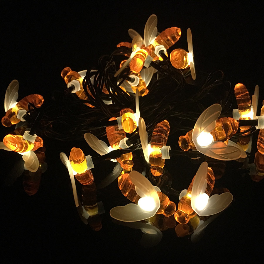 HANMIAO 20 30 Solar LED Light String outdoor Christmas Lights Honey Bee Garland Fairy Lights IP Waterproof Cork for Garden 35 in Lighting Strings from Lights Lighting