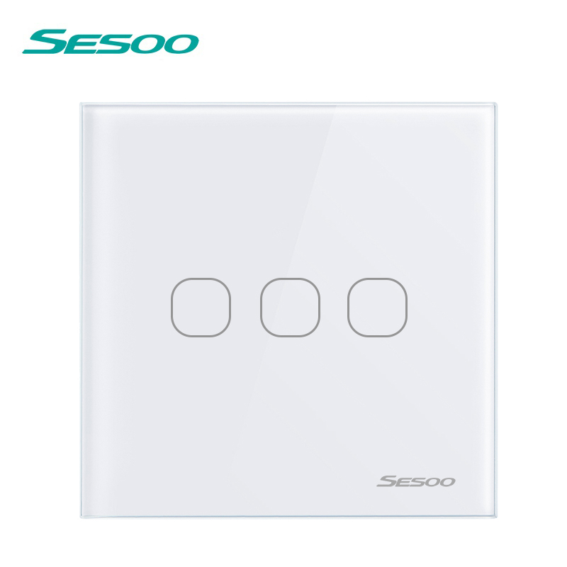 SESOO Remote Control Light Switch 3 Gang 1 Way Capacitive Touch Switch Smart 220V Wireless Lamp Switch with Remote Controller