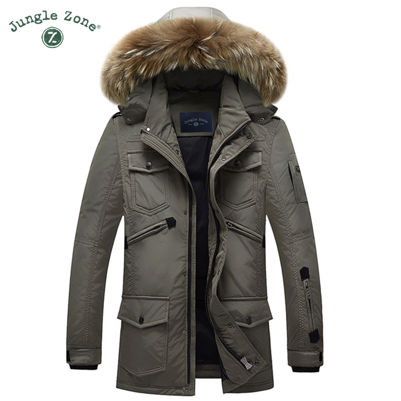JUNGLE ZONE Men's brand Winter Coat 90% White Duck Down Jacket Coat Casual men Down Jacket natural fur collar thick hooded