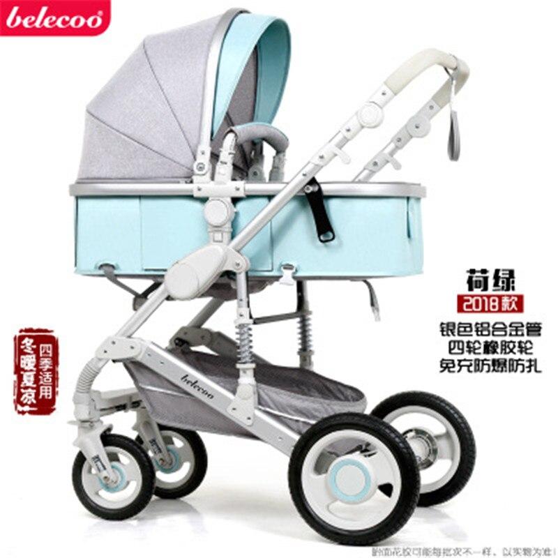 Belecoo Высокая Пейзаж Роскошная детская коляска 0-36 месяцев коляска надувной натуральный каучук колеса детская коляска - Цвет: green