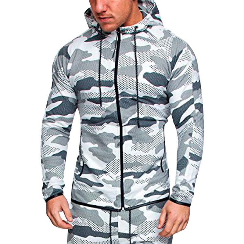 2018 New Fashion Men Camouflage Sets Men Long-Sleeved Hoodies+pants Two-piece Male Track ...