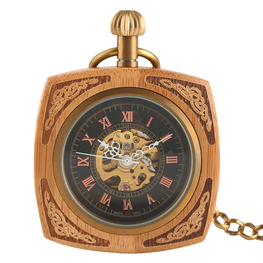 Unique Square Bamboo Vintage Automatic Self-Wind Mechanical Pocket Watch Carving Fashion Fob Watches Chain Clock Creative Gift