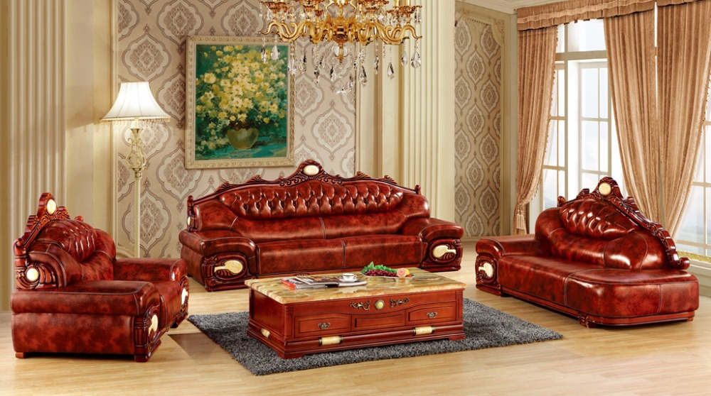 luxury big European leather sofa set living room furniture made in China sectional sofa wooden frame 1+4+chaise