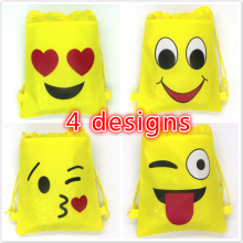 20pcs/lot 34*27cm emoji string bags baby shower party supplies kids birthday