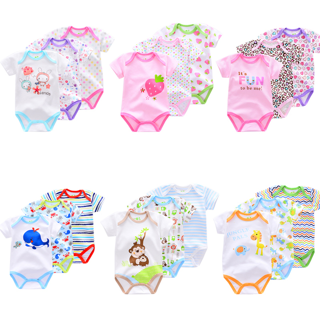 b315d6a166435 Summer Baby Boys Rompers Short Sleeve cotton infant Baby girl Jumpsuit  horse/owl/dog printing Newborn Clothes romper 3Pieces/lot
