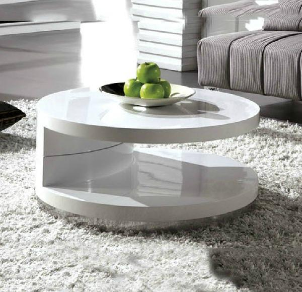 Modern Small Apartment Minimalist White Coffee Table Ikea Creative Paint Rotating European