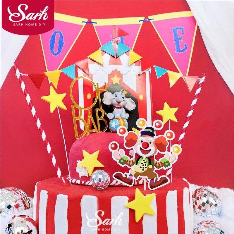 Цирковой клоун Слон Торт Топпер Oh Baby на день рождения блестящее украшение для детей мальчик девочка детские товары для вечеринок милые пода...