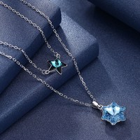 Necklaces Women Shining Star with Blue Crystal Choker Necklace 925 Sterling Silver Double Layer Pendant Necklaces Romantic Gifts