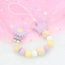 Silicone Flower Case Pacifier Chain Nipple Personalized Name Pacifier Clips Silicone Beads Holder Chain Baby Teether For Kids зажимы на соски doc johnson kink chain nipple clips with heavy chain and silicone tips