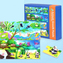 Free shipping Kids Animal Growth puzzle  4 Animal In-A-Box toys wooden puzzles toys for children wood cartoon puzzles toy gift паззл vintage puzzles
