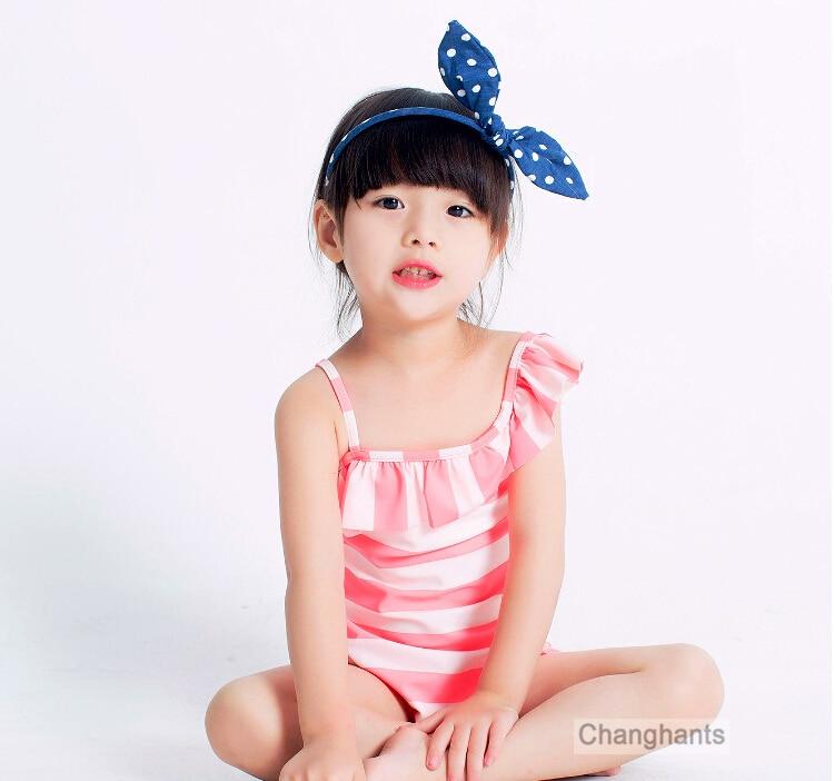01a3f5194dbfc Baby Girls Swimwear Orange   White Striped 2-7 Y Girls One Piece Swimsuit  Kids swimming wear with Lace Wrinkle