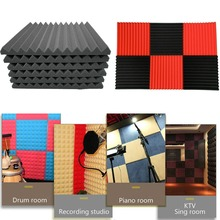 6Pcs Acoustic Foam Panel Sound Stop Absorption Sponge Studio KTV Soundproof for Piano room Drum Anchors