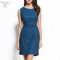 ElaCentelha Brand Dress Women Summer High Quality Lace Embroidery OL Work Office Dress Sleeveless Waist Mini