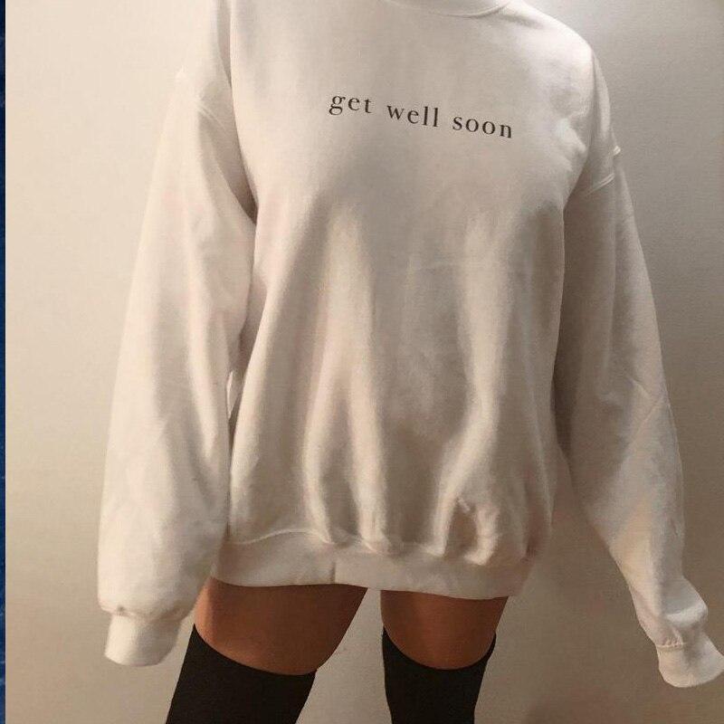 Get Well Soon Ariana Grande SWEETENER Crewneck Sweatshirt Women Casual Pullover Long Sleeve Hoodie Thank U Next