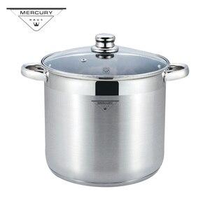 Глубокая кастрюля из нержавеющей стали 7l-18,5l, кастрюля для супа со стеклянной крышкой и Индукционным дном