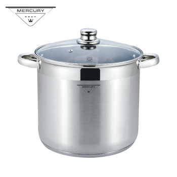 7L-18.5L Stainless Steel Deep Casserole Soup Pot with Glass Lid and Induction Bottom цена 2017