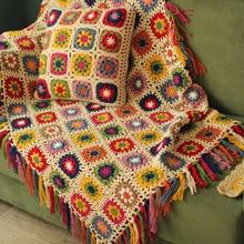 hot sale DIY Multi colours cushion Hand hooked fashion crochet blanket with tassels cushion felt pastoral