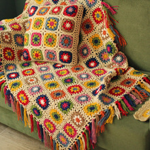 hot sale DIY Multi colours cushion Hand hooked fashion crochet blanket with tassels cushion felt pastoral style gift 40*40