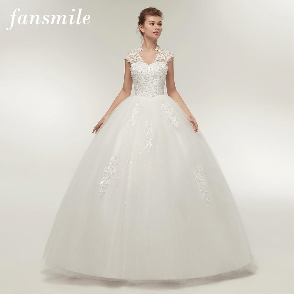 Fansmile Short Sleeve Princess Lace Wedding Dresses 2019 Plus Size Vintage Ball Gowns Robe de Mariage