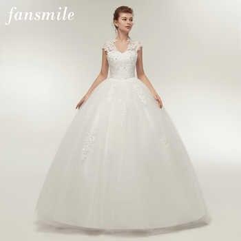 Fansmile Short Sleeve Princess Lace Wedding Dresses 2019 Plus Size Vintage Ball Gowns Robe de Mariage Vestido de Novia FSM-059F - DISCOUNT ITEM  5% OFF All Category