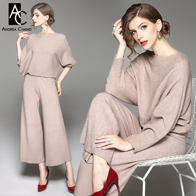 7ce78fad7e autumn winter woman outfit batwing sleeve khaki beige sweater knitted pants  two-piece outfit casual plus size outfit pantsuit