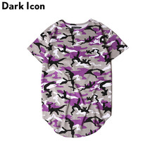 DARK ICON Extended Curved Hem T Shirt Men Camouflage Longline Hip Hop T-shirt Elongated Tee Shirts Justin Bieber Kanye West