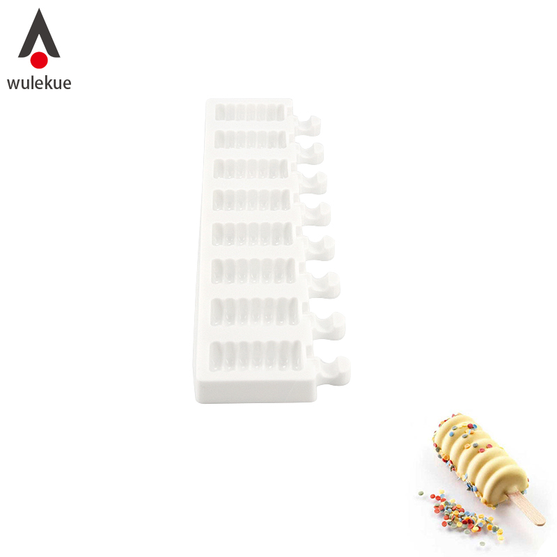 Wulekue 1Set 8 Cavity Silicone Ice Cream Mold Baking Tools For Cakes Chocolate Dessert With 40PCS Sticks