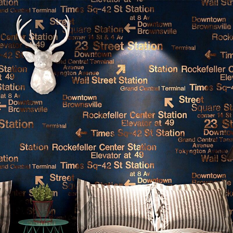 Exquis anglais alphabet papier peint vintage 3d stéréo personnalité mode chambre café restaurant vêtements magasin papier peint