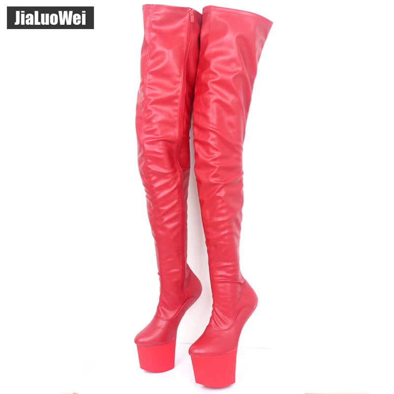 jialuowei Women boots 20CM Super High Heel Heelless Sexy Fetish Female Over-Knee Boots NO-Heel New Design platform Unisex Boots