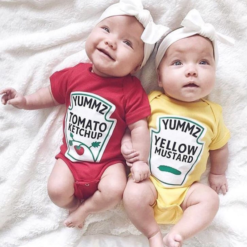Culbutomind Yummz Tomato Ketchup Yellow Mustard Red and Yellow Twins Baby Clothes Twins Baby Boys Girls