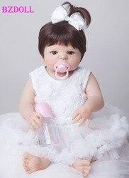 55 cm New Full Body Silicone Renascer Bebê Boneca Brinquedos Do Bebê Recém-nascido Menina Boneca de Presente de Natal Presente de Aniversário de Brinquedo Banho meninas Brinquedos