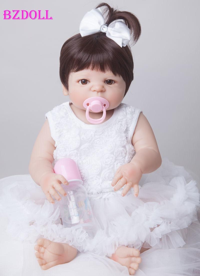 55 センチメートル新フルボディシリコンリボーンベビードールおもちゃ新生児少女ベイビードールクリスマスプレゼント誕生日プレゼント入浴玩具女の子 Brinquedos  グループ上の おもちゃ & ホビー からの 人形 の中 1