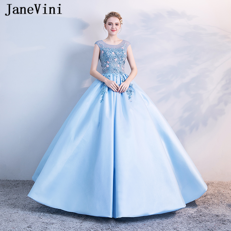 US $178.56 54% OFF|JaneVini Charming Sky Blue Puffy Quinceanera Dresses  Plus Size Ball Gown 2019 Scoop Neck Satin Appliques Beaded Sweet 16  Dress-in ...