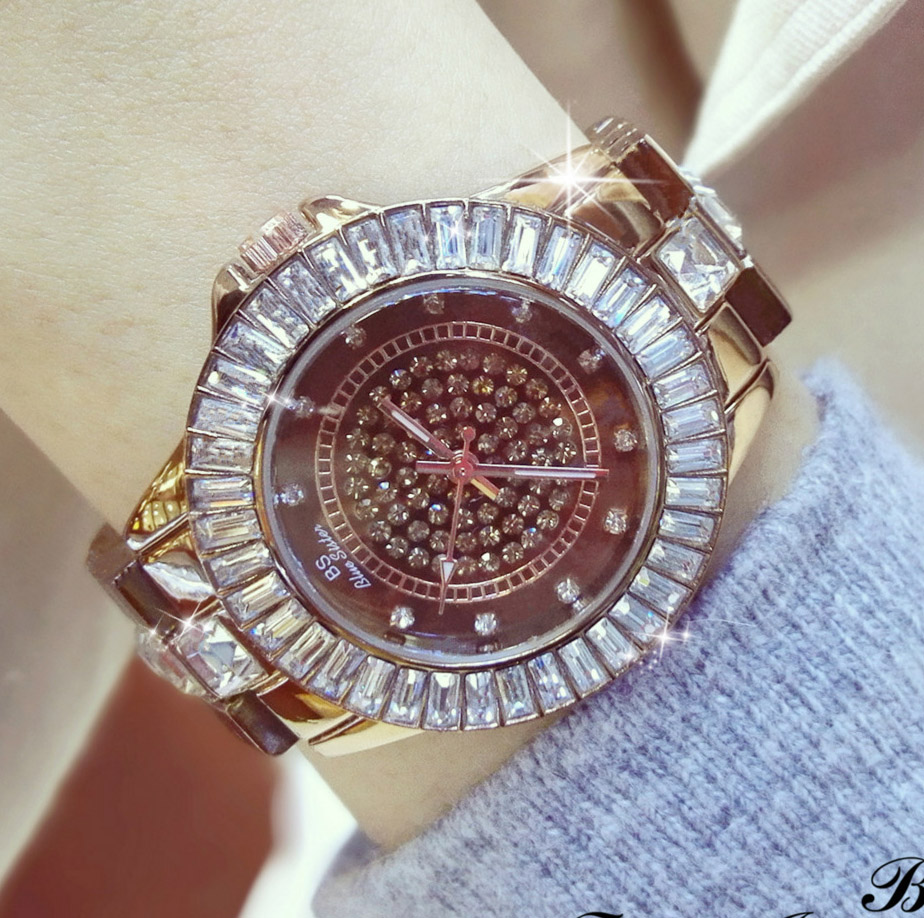 Hot Sale Famous Brand Bling Coffee Watch Women Luxury Austrian Crystal Brown Watch Shinning Diomand Rhinestone Bangle Bracelet new arrival famous bs brand bling diamond bracelet silver watch women luxury austrian crystal big watch rhinestone charm bangle