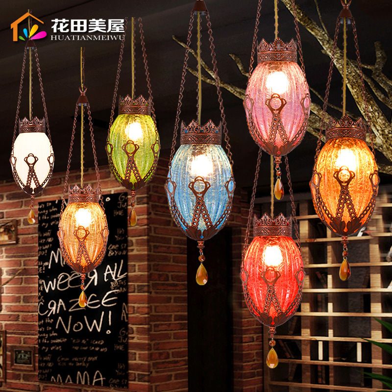 Mancoffee Cafe Southeast Asia Bohemia Colorful Glass Crystal Ceiling Light Vintage Pendant Lamp Restaurant Droplight loft vintage edison glass light ceiling lamp cafe dining bar club aisle t300