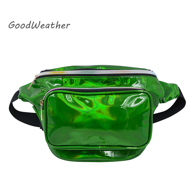 f4d6ed5c7d Fashion small green holographic waist bag fanny pack for women waterproof  laser PU leather chest belt bags purse hip pack 5color