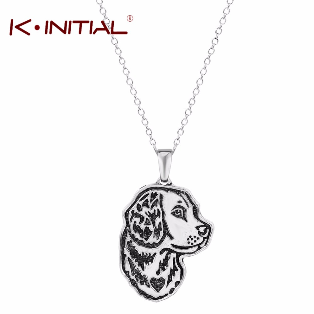 Kinitial 1Pcs Dog Pendant Necklace Golden Retriever Greyhound German Shepherd Dog Memorial Gift Jewelry Necklaces Choker Collar