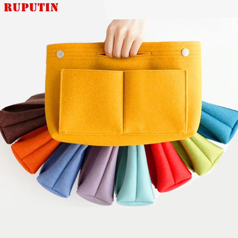 Colorful Felt Cosmetic Bag Large Capacity Mummy Package Multifunctional Storage Makeup Sundry Handbag Women's Travel Insert Bag