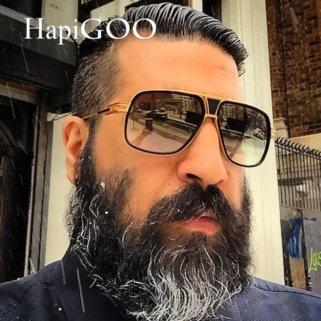 7b5379882d2 HapiGOO Retro Women Oversized Square Sunglasses Men Driving Mirror 2019 Brand  Design Vintage Metal Frame Sun Glasses For Female